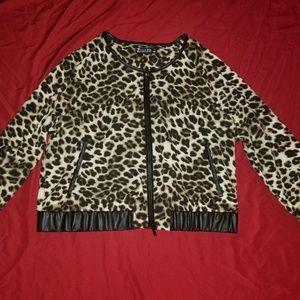 New York & Company Jackets & Coats - Women's Leopard Print Jacket Size XL